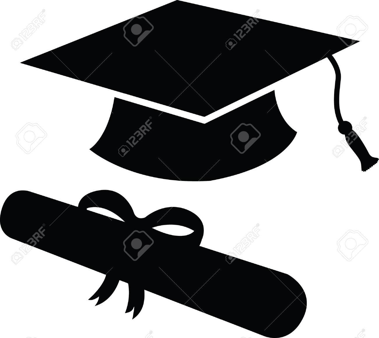 1300x1158 Graduation Cap And Diploma In Black Silhouette, Icon Or Symbol