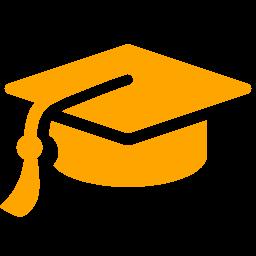 256x256 Orange Graduation Cap Clipart