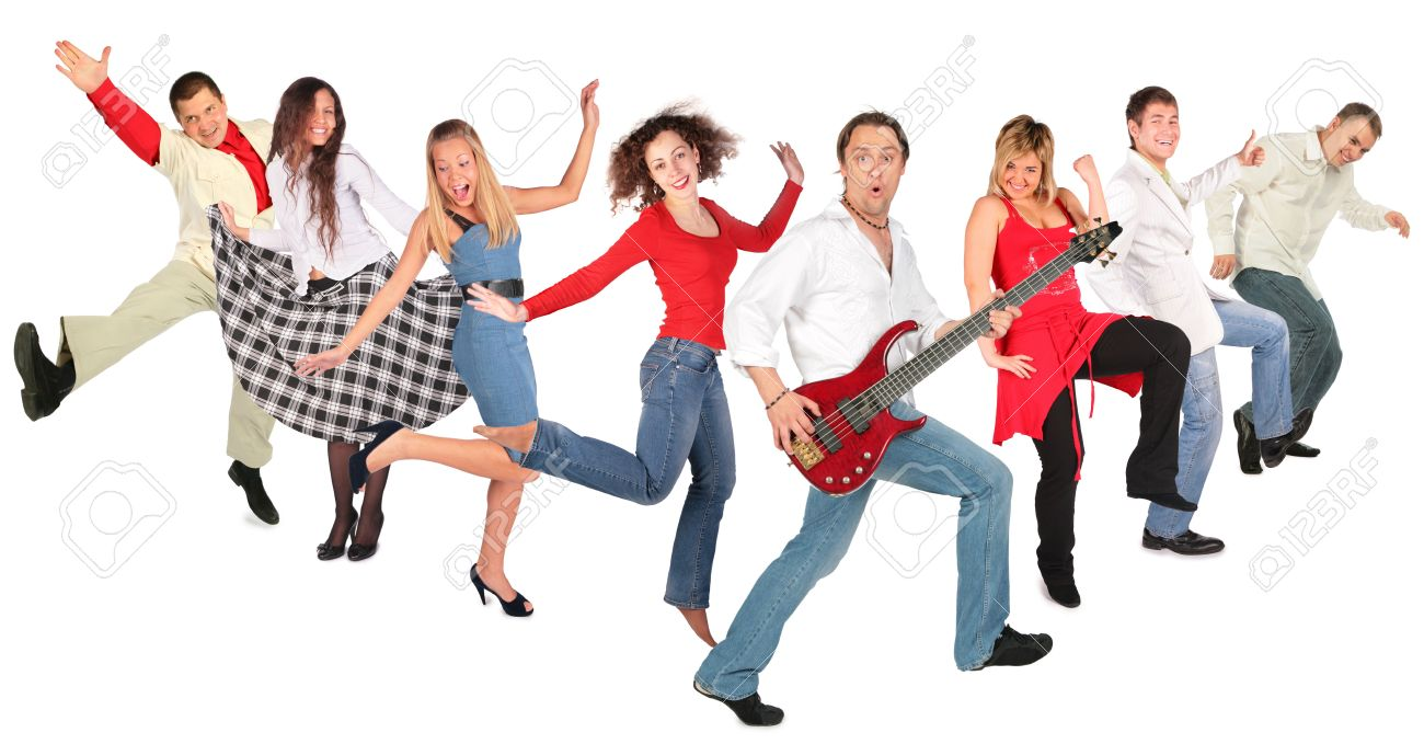 1300x679 Dancing Happy People Group Stock Photo, Picture And Royalty Free