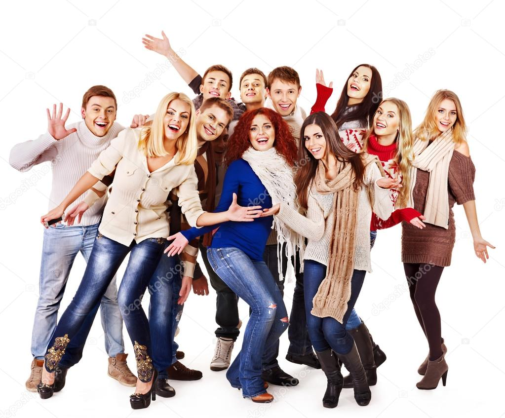 1023x847 Group People Wearing Winter Clothes. Stock Photo Poznyakov
