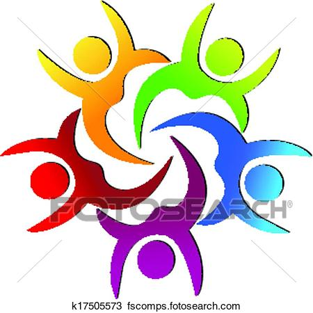 450x450 Clipart Of Teamwork Happy People Logo K17505573