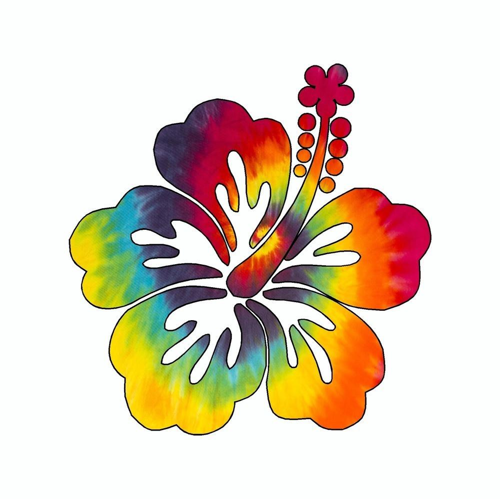 1000x999 Hibiscus Flower Tie Dye Vinyl Car Sticker Doggy Style Gifts