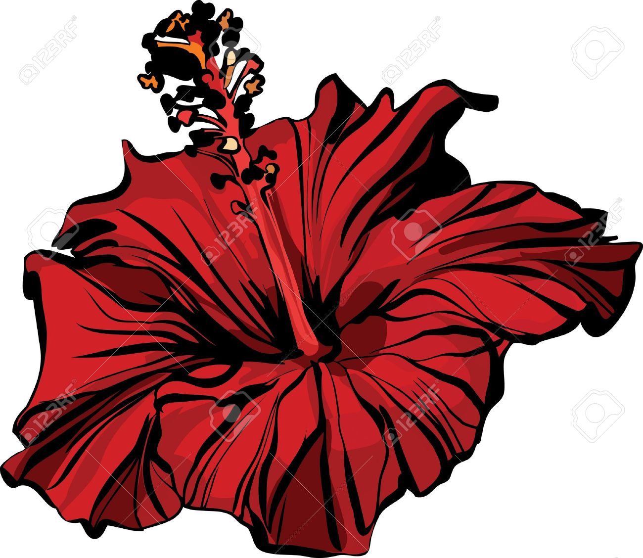 1300x1128 Drawn Hibiscus Pretty Simple Flower