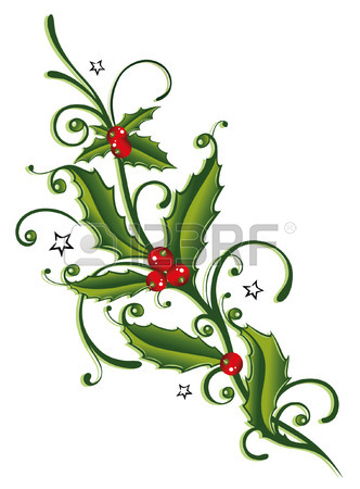 332x450 Colorful Christmas Decoration, Holly And Berries Royalty Free