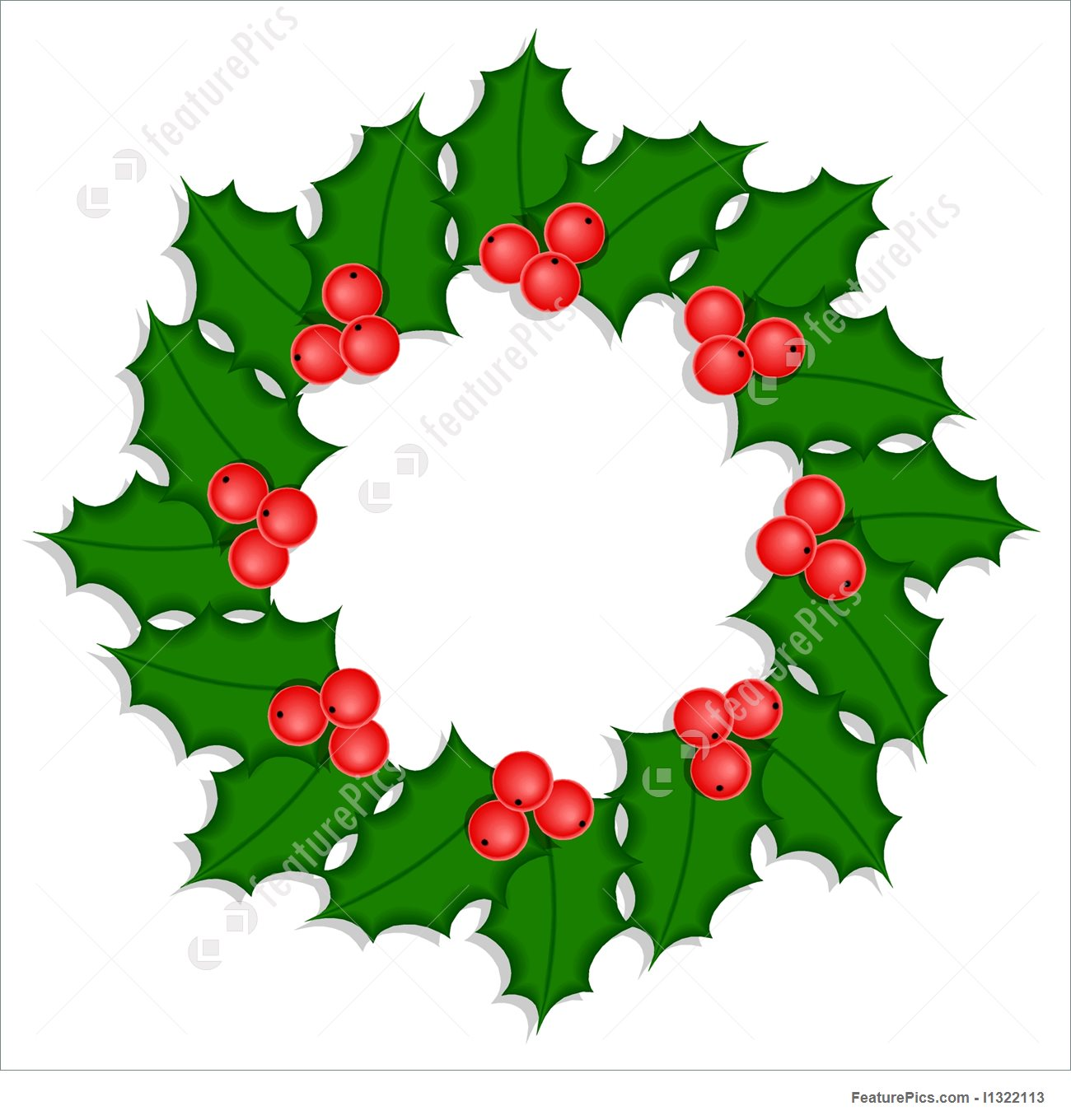 1300x1360 Holidays Holly Wreath With Ripe Berries