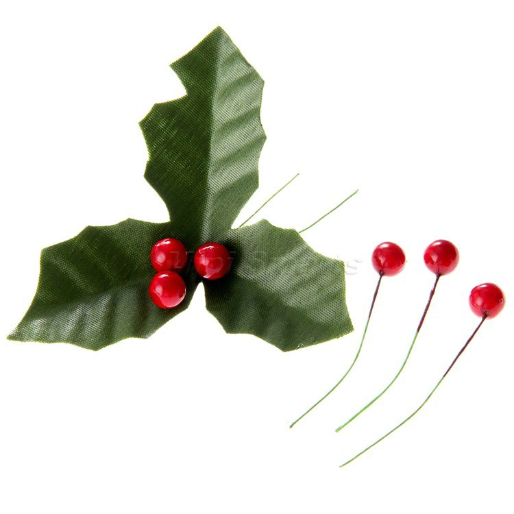 750x750 50pc Artificial Dark Red Holly Berries Amp Green Leaves Wedding