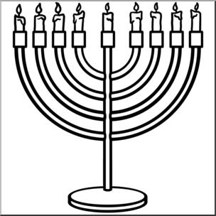 304x304 Clip Art Hanukkah Menorah Bampw I Abcteach