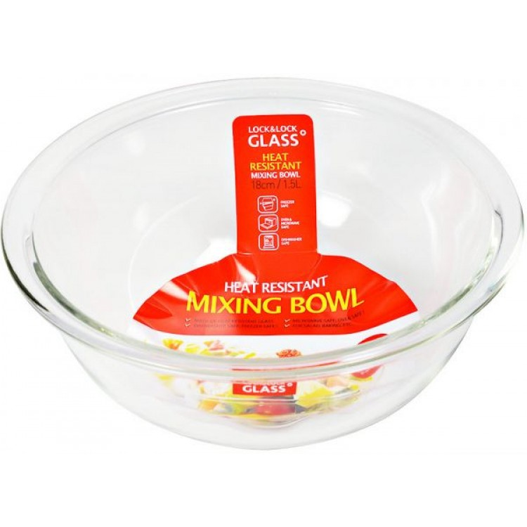 750x750 Lock Amp Lock Glass Mixing Bowl 1.5 Liters Llg013