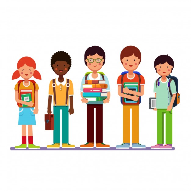 626x626 Multi ethnic group of school students kids Vector Free Download