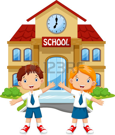 385x450 School Building Cartoon Royalty Free Cliparts, Vectors, And Stock