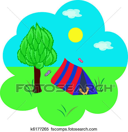 450x464 Clipart Of Tourism, Tent Under A Tree And The Sleeping Person