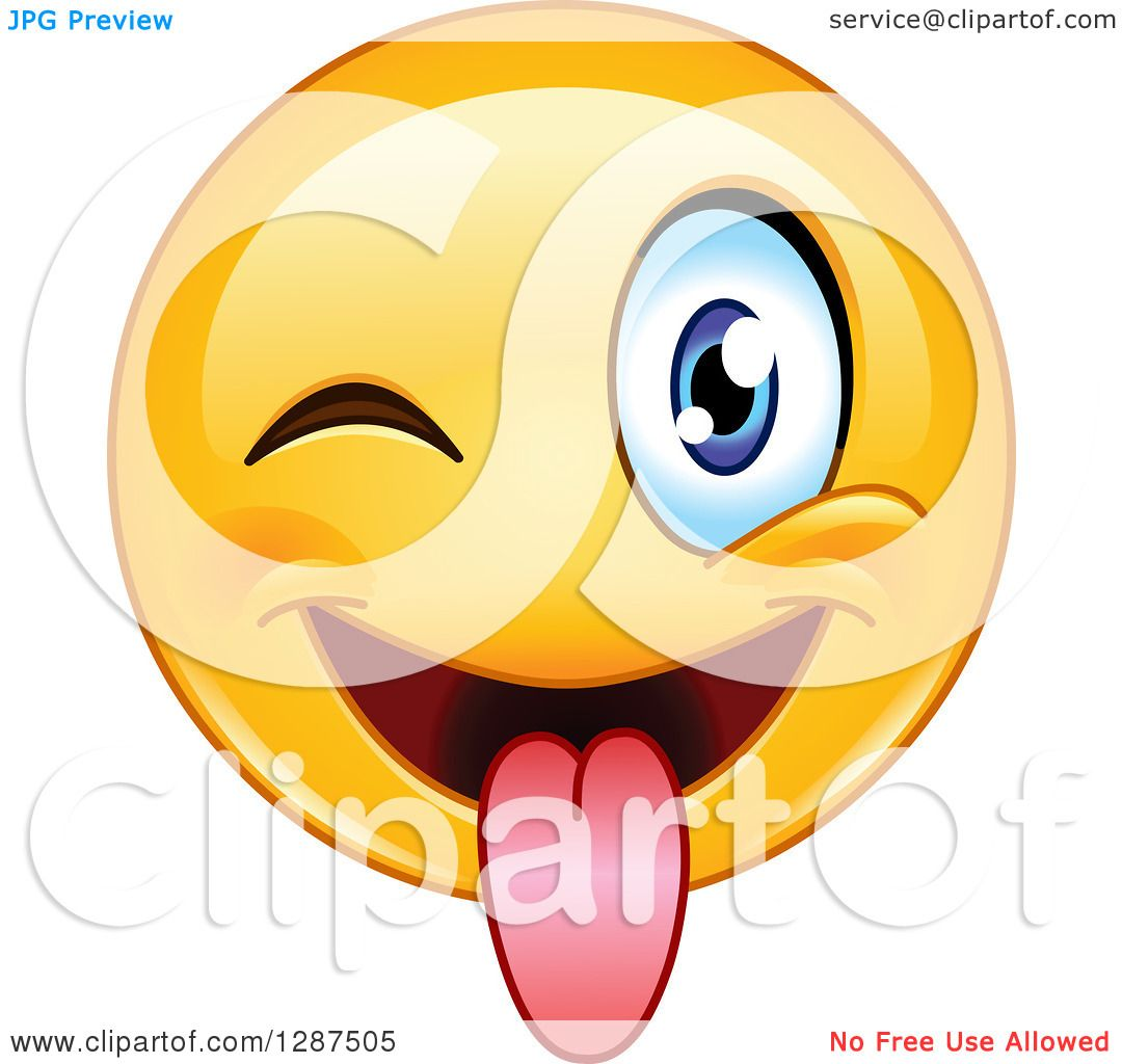 1080x1024 Clipart Of A Yellow Emoticon Smiley Face Winking And Sticking His