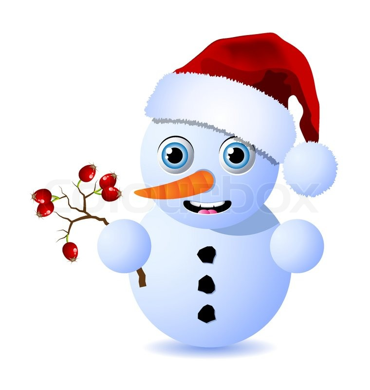 760x800 Cute Little Snowman Is Holding A Small Branch Of Rosehips Stock