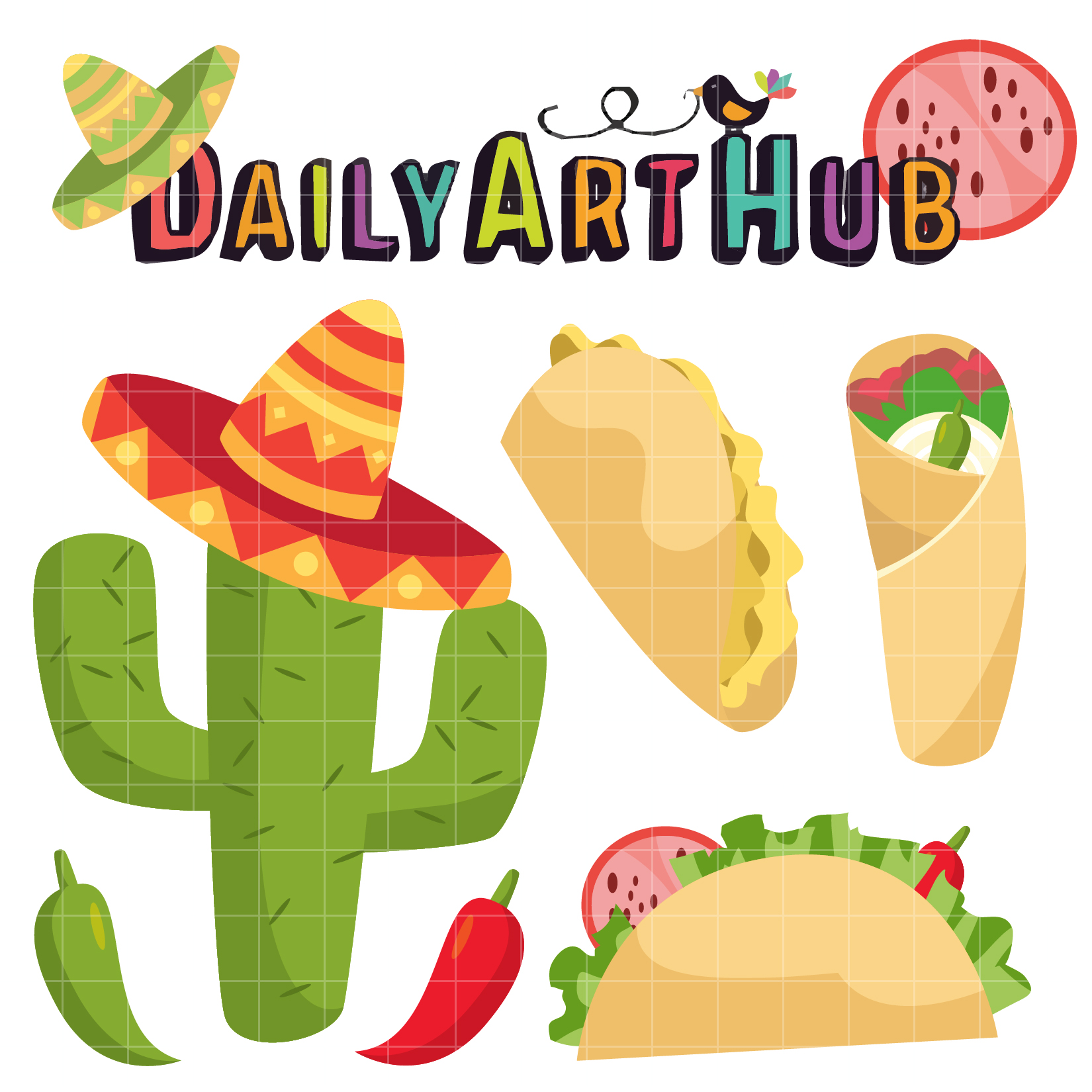 1650x1650 Free Delicious Taco Clip Art Set Svg Cutting Files