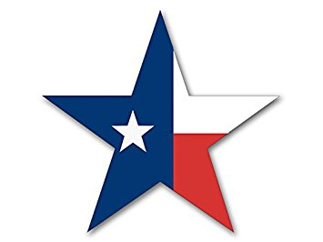 355x266 Star Shaped Texas Flag Sticker (Tx Bumper Lone Decal