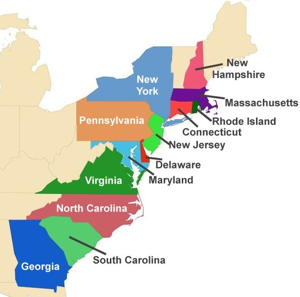 614x608 Colonial America For Kids The Thirteen Colonies