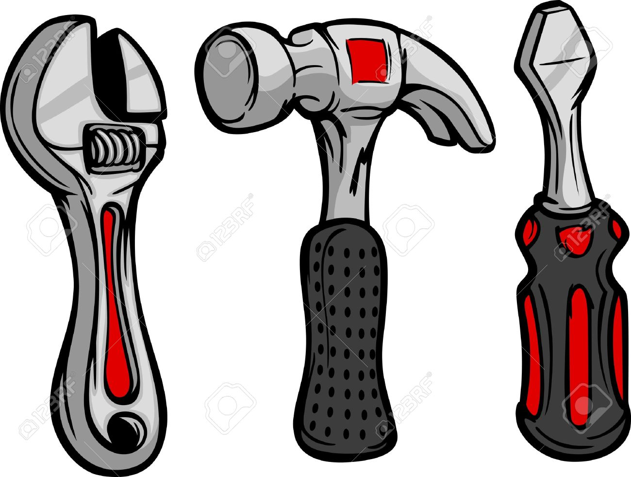 1300x982 Cartoon Image Of Home Repair Tools Hammer, Wrench And Screwdriver