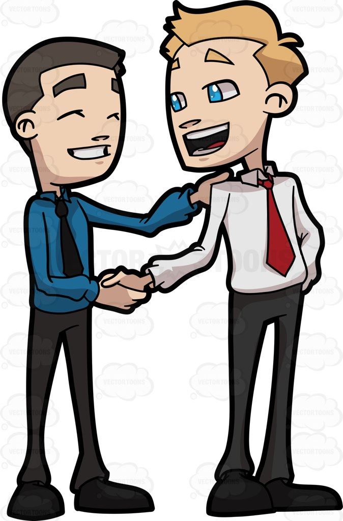 674x1024 Two Business Friends Shaking The Hand Of Each Other Cartoon