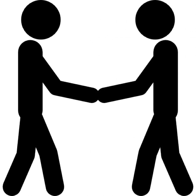 626x626 Two Stick Man Variants Shaking Hands Icons Free Download