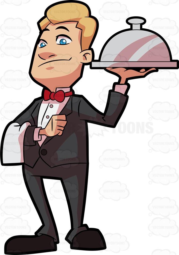 720x1024 A Waiter Carrying A Main Dish Cartoon Clipart