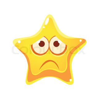 320x320 Confused Emotional Face Of Yellow Star, Cartoon Character Stock