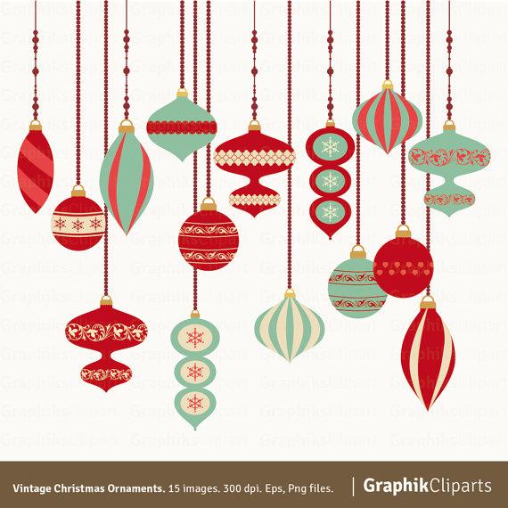 570x570 Vintage Christmas Decorations Clipart
