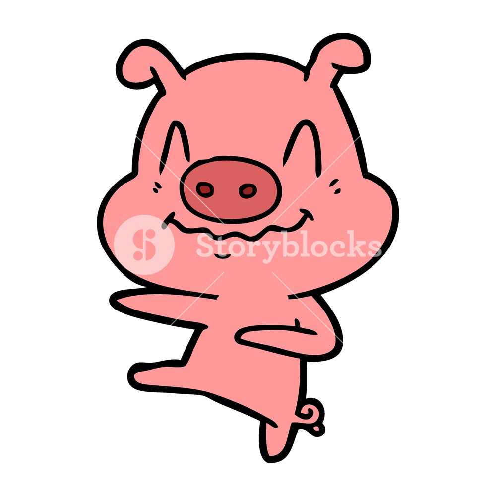 1000x1000 Nervous Cartoon Pig Dancing Royalty Free Stock Image