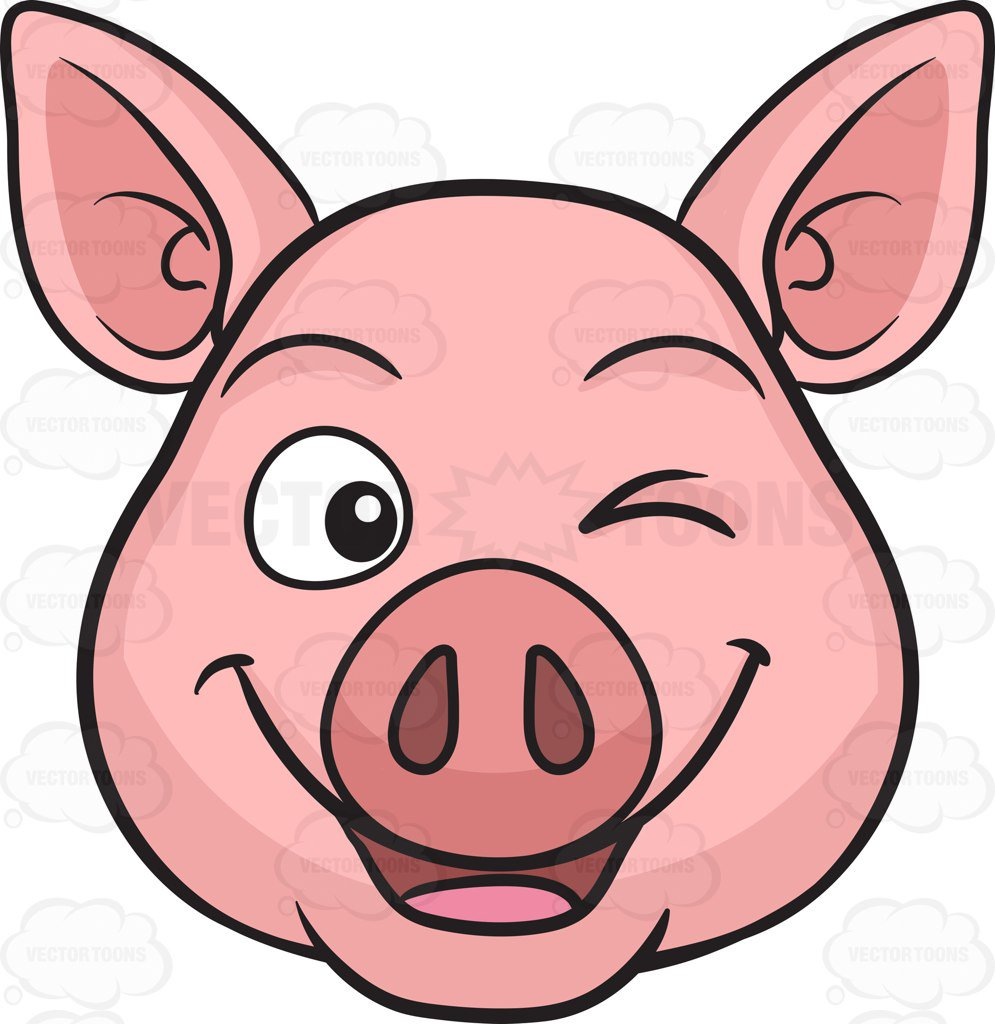 995x1024 A Winking Pig Cartoon Clipart