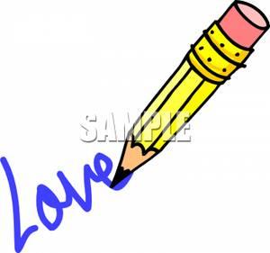 300x281 Pencil Writing The Word Love Clip Art