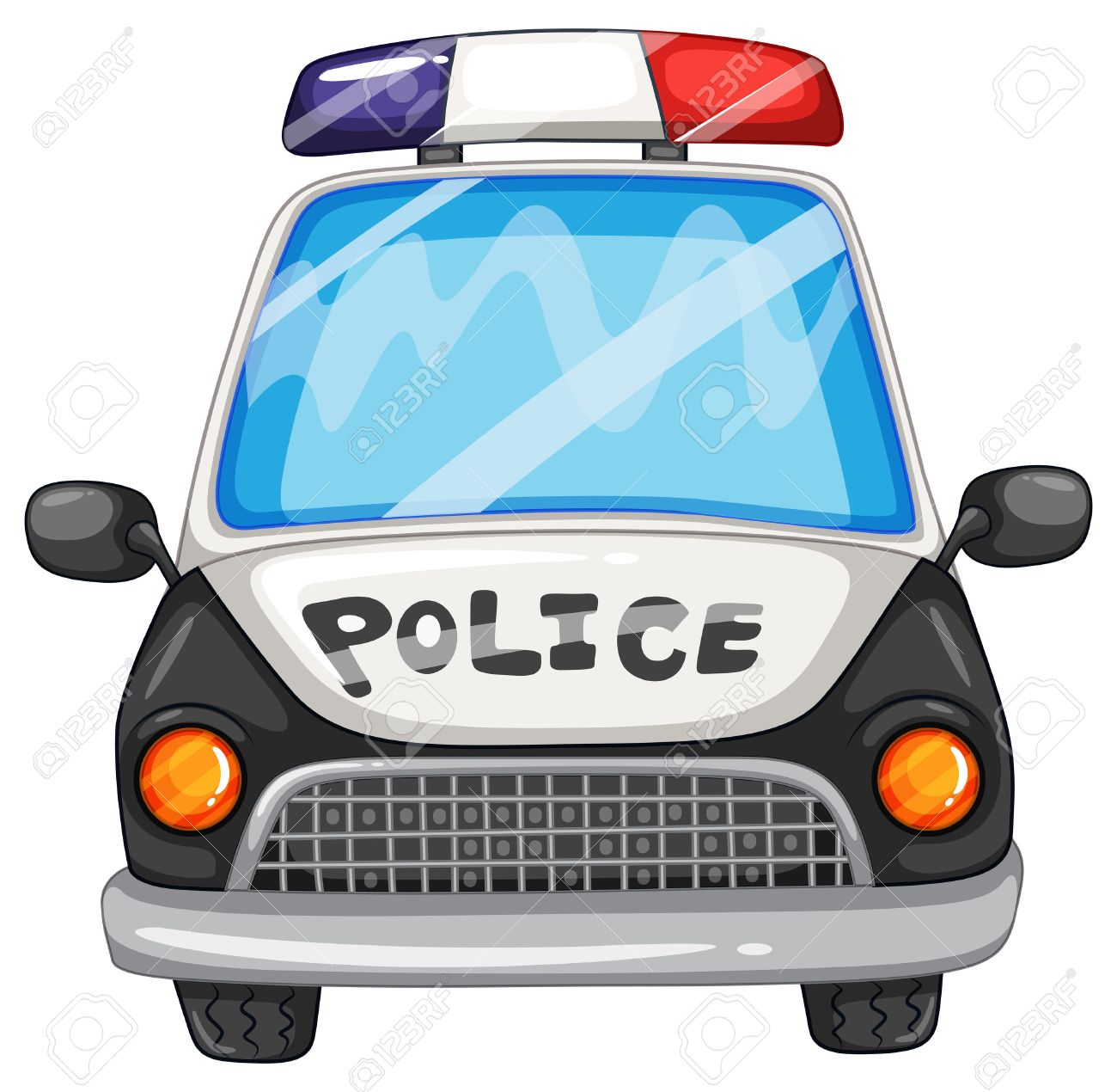 1300x1270 Illustration Of A Closeup Police Car Royalty Free Cliparts