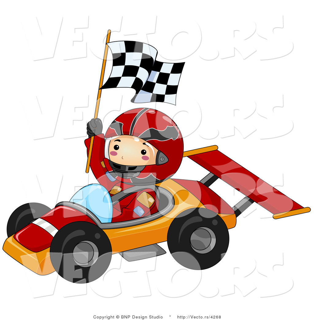 1024x1044 Vector Of Happy Boy Waving Checkered Flag While Driving A Race Car