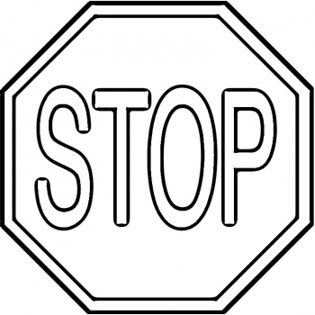 350x350 Black And White Stop Sign Clipart Free