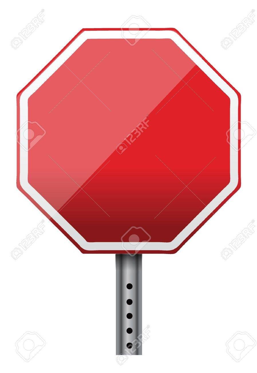 898x1300 Empty Stop Sign Illustration Design Over White Royalty Free