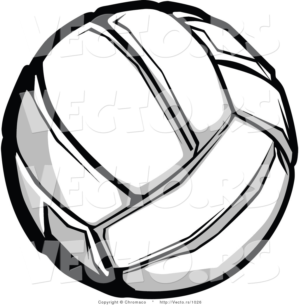 1024x1044 Vector Of A Volleyball Grayscale Version By Chromaco