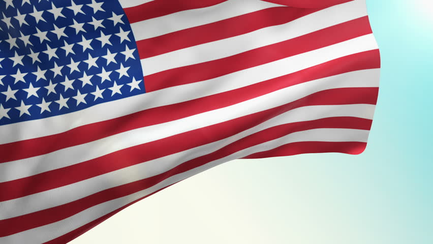 852x480 Animation Slow Waving Of American Flag On Sunny Sky. Closeup