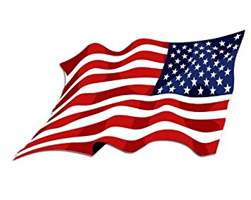355x284 Reverse Waving American Flag Sticker Automotive