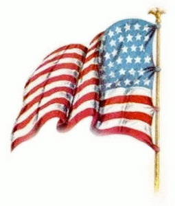 255x300 Vintage Clipart Image Of An American Flag, Facing Left, Waving