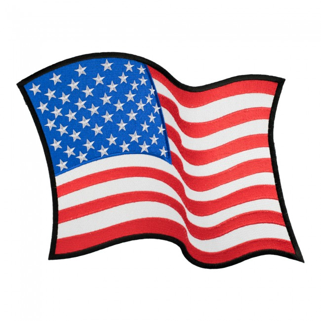 650x650 Waving American Flag Black Border Patch U.s. Flag Patches