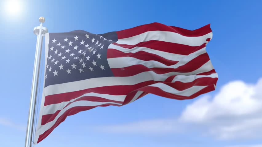 852x480 American Flag Slow Waving. Close Up Of American Flag Waving. Stock