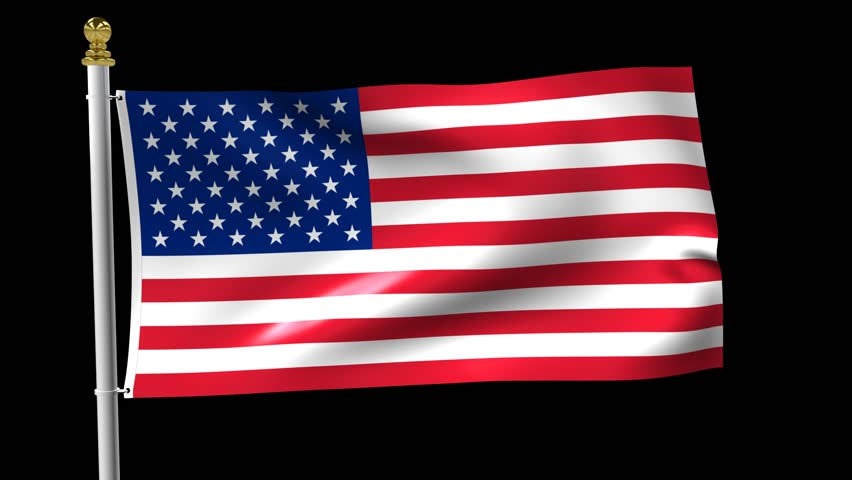 852x480 American Flag Waving In The Wind Isolated On Black Background