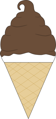 191x400 Chocolate Coated Soft Serve Ice Cream Cone Clip Art