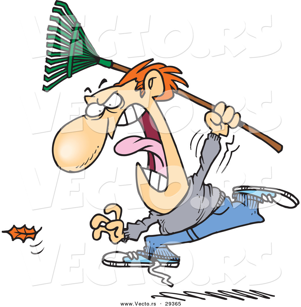 1024x1044 Vector Of A Cartoon Angry Man Chasing A Falling Leaf With A Rake