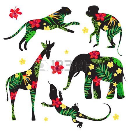 450x450 Set Silhouettes Of Wild Animals With A Tropical Floral Print