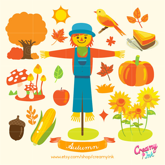 570x570 Fall Digital Vector Clip Art Autumn Clipart Design Illustration