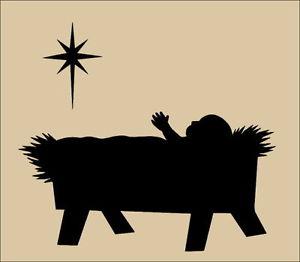300x262 Primitive Topper Stencil~baby Jesus Nativity Star~christmas Manger