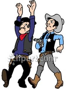 225x300 West Sheriff Arresting a Bad Guy Royalty Free Clipart Picture