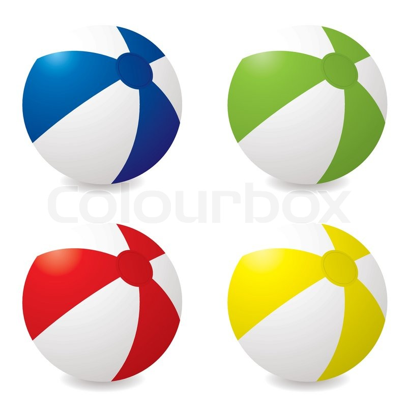 800x800 Collection Of Four Different Coloured Beach Balls With Drop Shadow