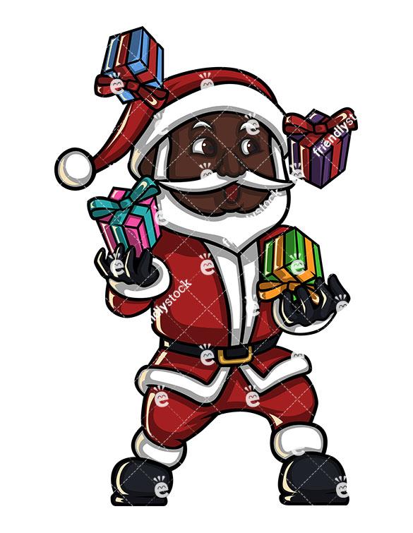 585x755 Black Santa Claus Juggling With Presents Cartoon Vector Clipart