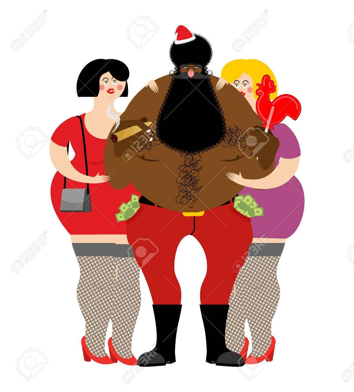 1176x1300 Bad Black Santa With Beer And Cigar. African American Santa Claus