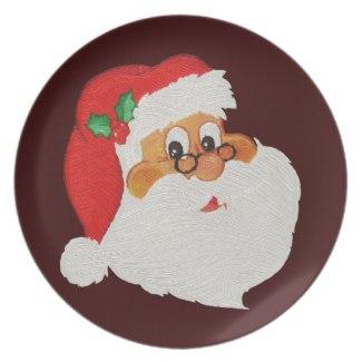 325x325 Black Santa Christmas Plates For Holiday Dining Christmas
